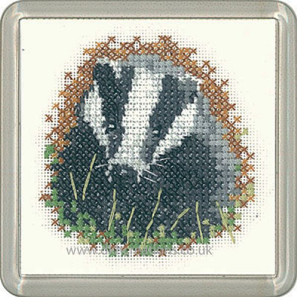 Badger Coaster Liitle Friends Cross Stitch Kit